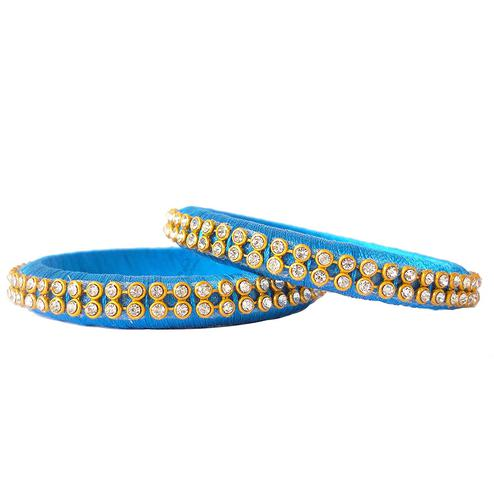 Opulent Sky Blue Colored Festive Wear Stone Work Resham Thread Bangles