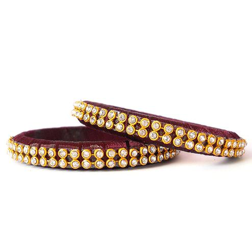 Dazzling Maroon Colored Festive Wear Stone Work Resham Thread Bangles