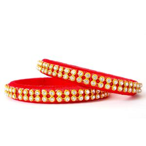 Flattering Red Colored Festive Wear Stone Work Resham Thread Bangles