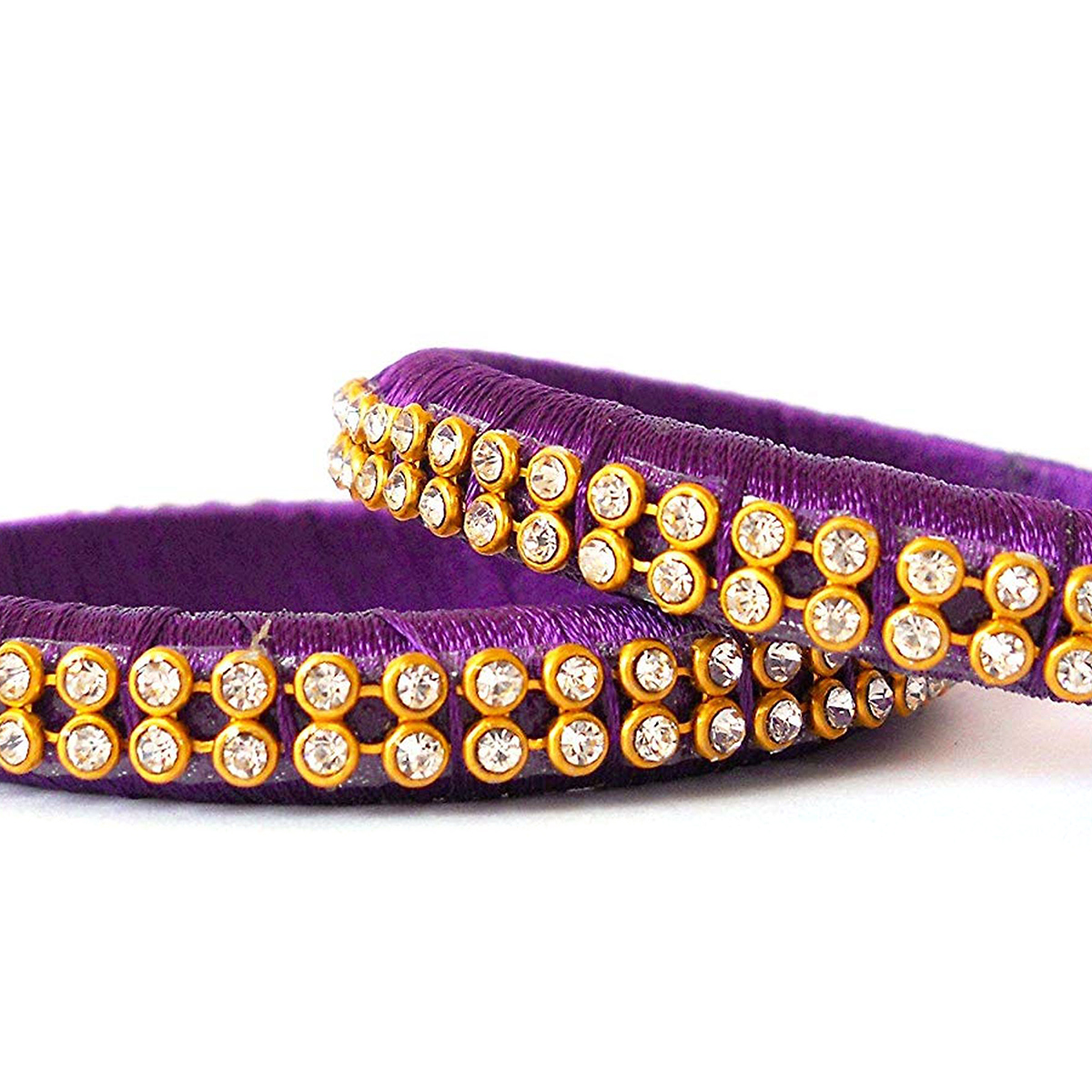 Breathtaking Purple Colored Festive Wear Stone Work Resham Thread Bangles