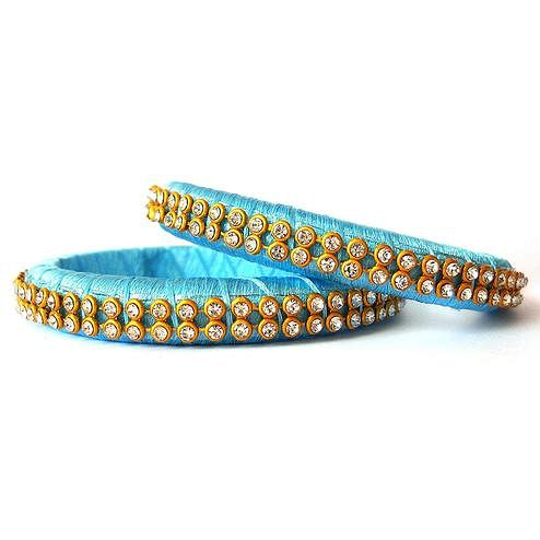 Impressive Light Blue Colored Festive Wear Stone Work Resham Thread Bangles