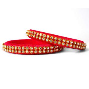 Gleaming Dark Pink Colored Festive Wear Stone Work Resham Thread Bangles