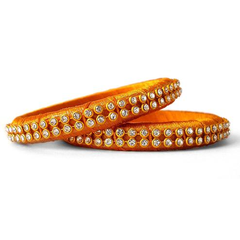 Arresting Mustard Yellow Colored Festive Wear Stone Work Resham Thread Bangles