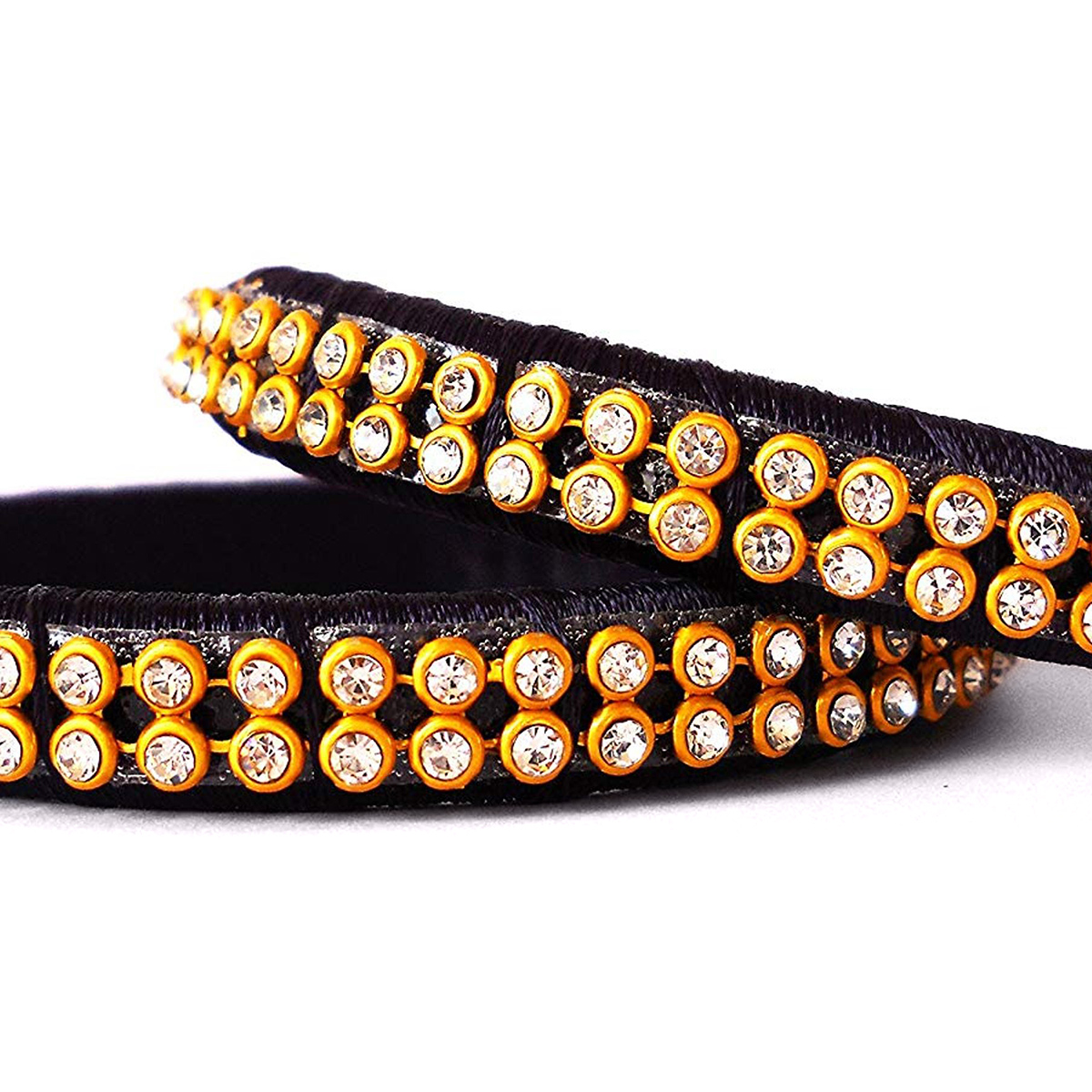 Exceptional Black Colored Festive Wear Stone Work Resham Thread Bangles