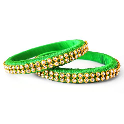 Excellent Light Green Colored Festive Wear Stone Work Resham Thread Bangles