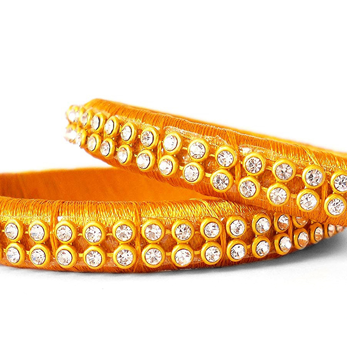 Ethnic Yellow Colored Festive Wear Stone Work Resham Thread Bangles