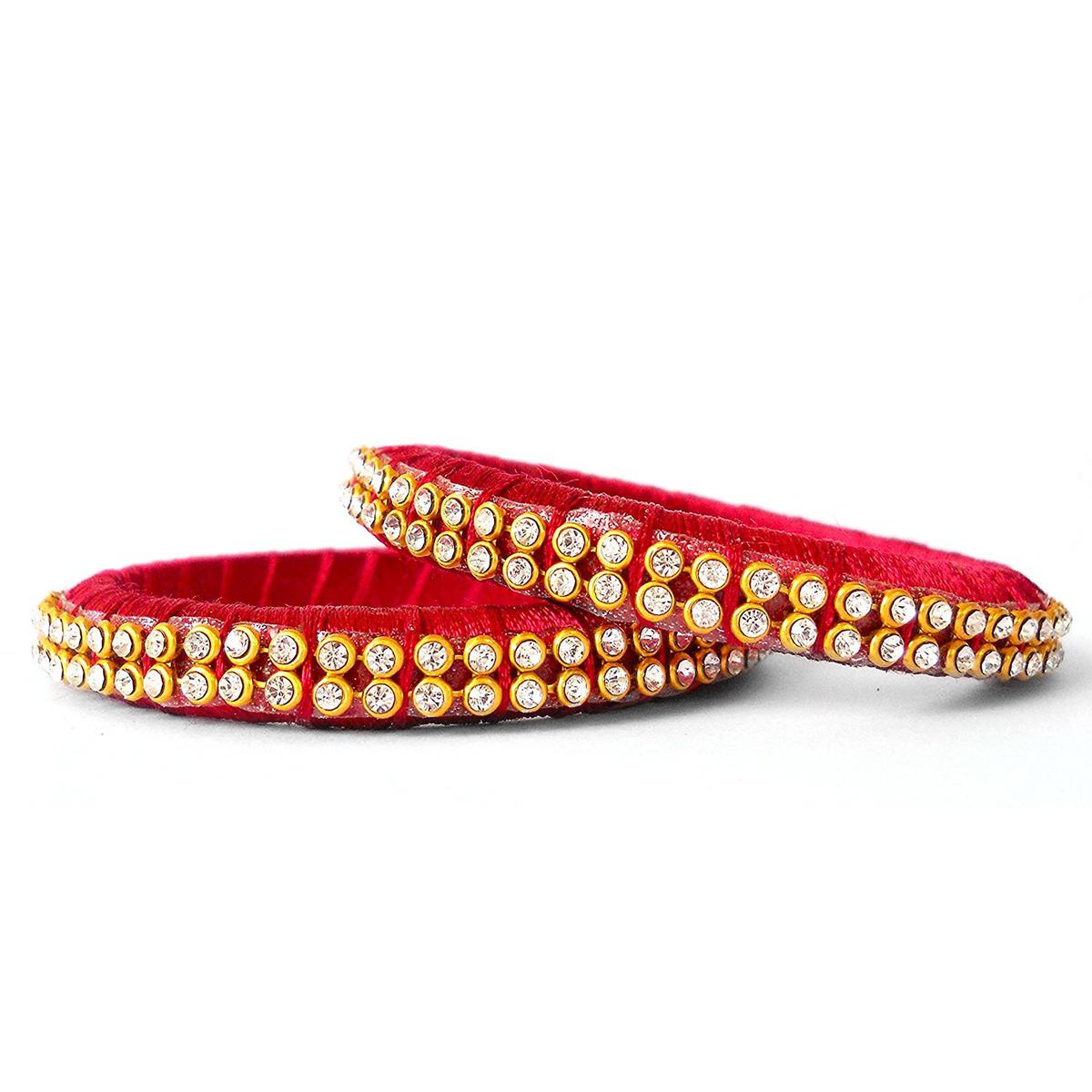 Flirty Maroon Colored Festive Wear Stone Work Resham Thread Bangles