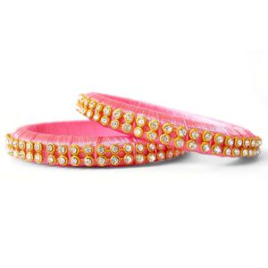 Hypnotic Baby Pink Colored Festive Wear Stone Work Resham Thread Bangles