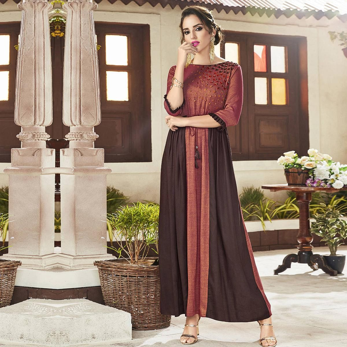 Refreshing Rust Red & Coffee Colored Party Wear Embroidered Viscose Kurti