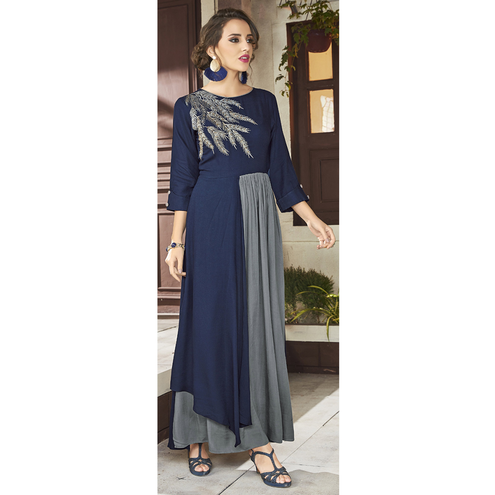 Radiant Navy Blue & Grey Colored Party Wear Embroidered Viscose Kurti