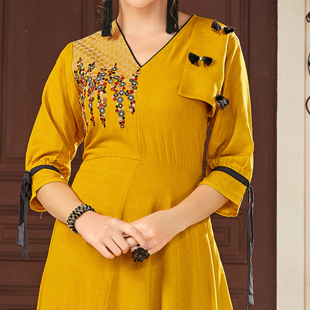 Sensational Mustard Yellow Colored Party Wear Embroidered Viscose Kurti