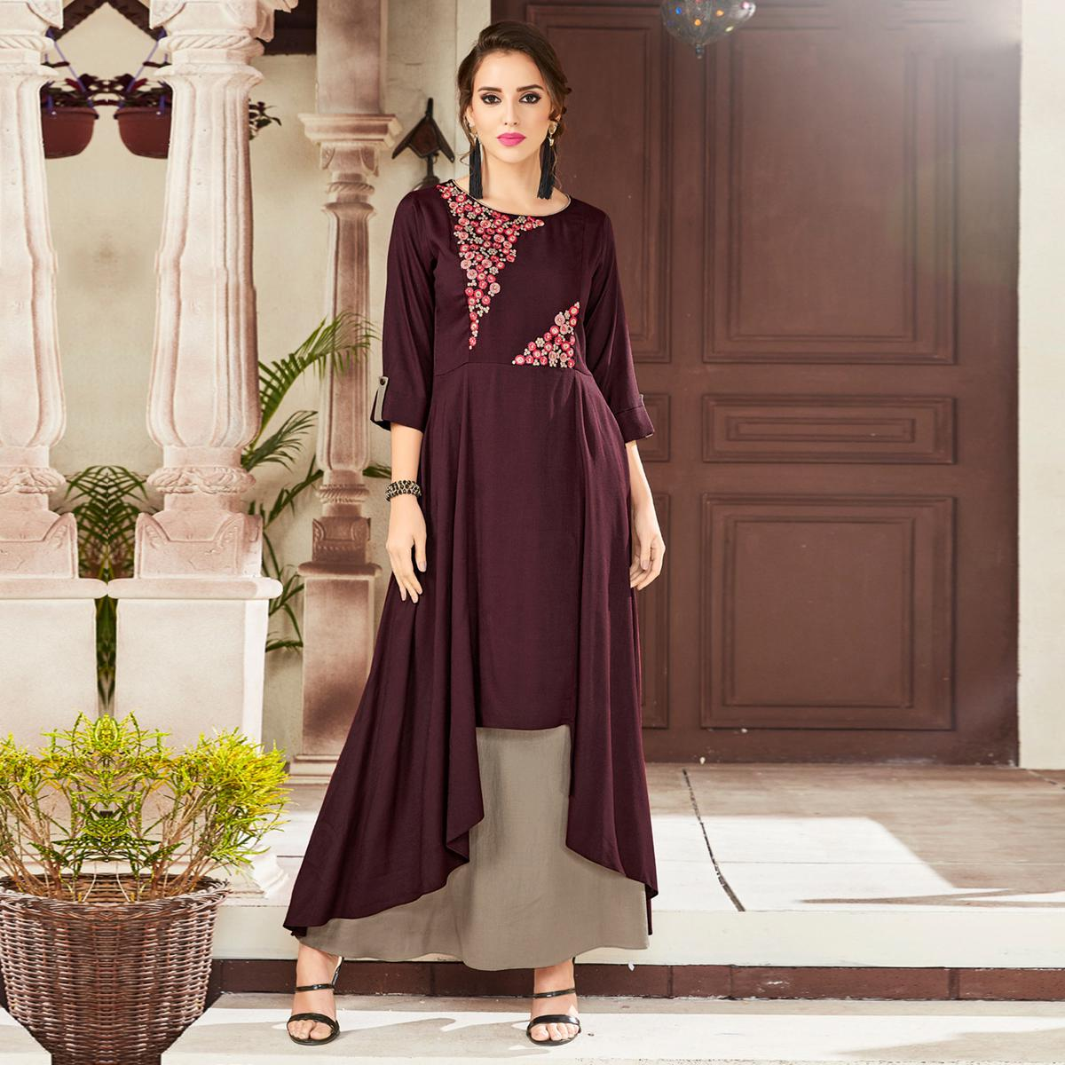Opulent Dark Wine & Beige Colored Party Wear Embroidered Viscose Kurti