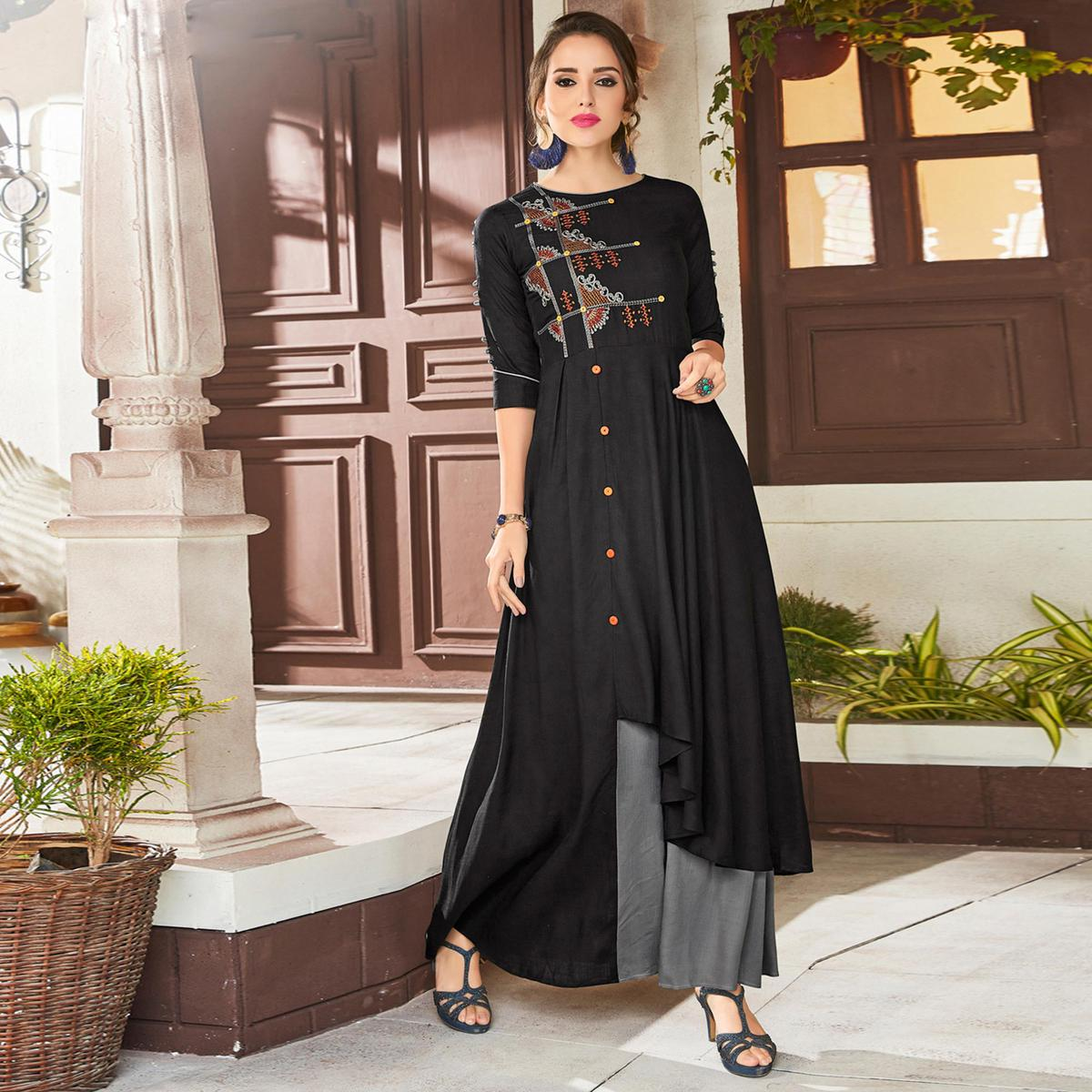 Dazzling Black & Grey Colored Party Wear Embroidered Viscose Kurti