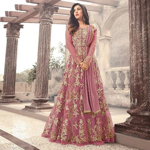 Blooming Pink Colored Party Wear Embroidered Net Anarkali Suit