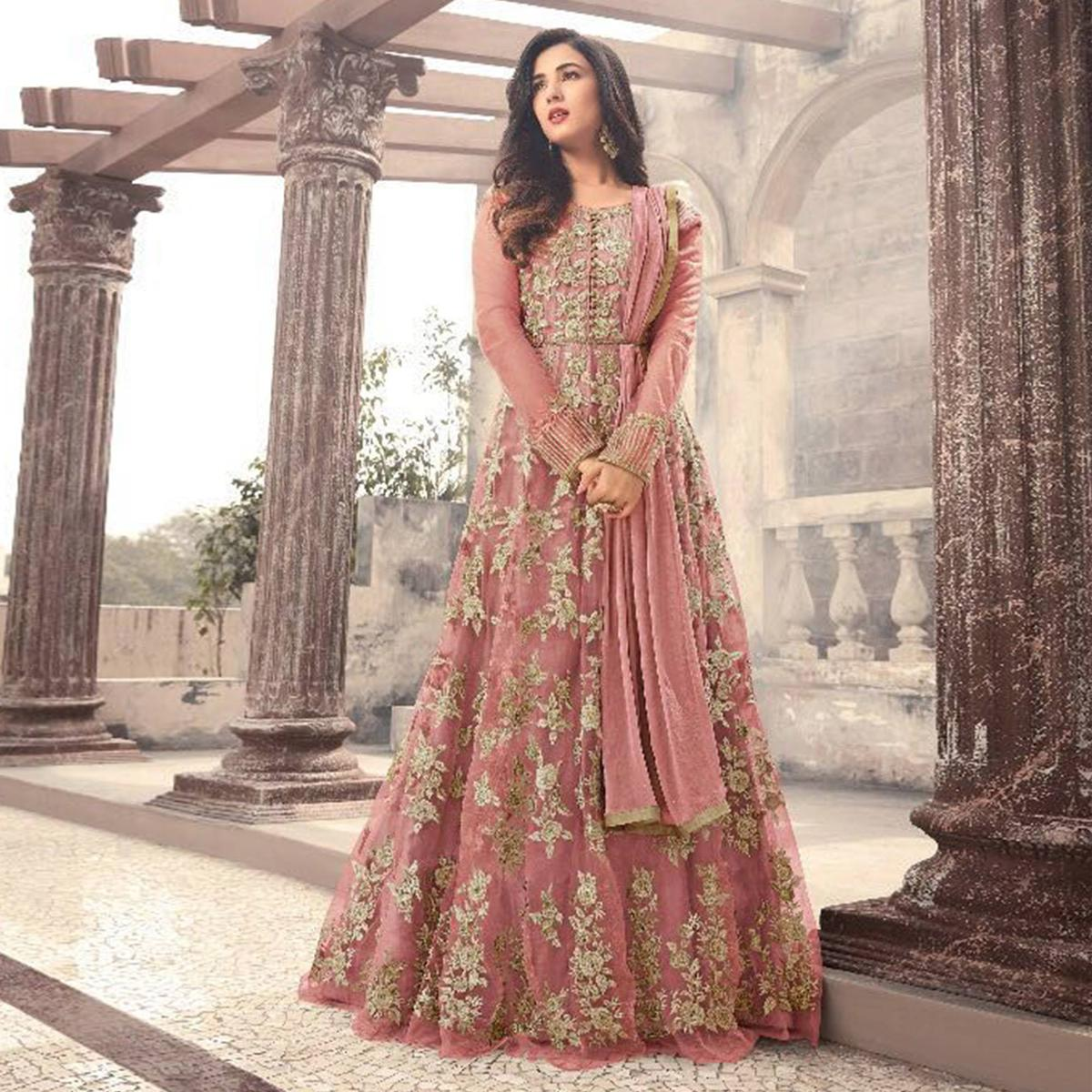 7af31abd8c Buy Marvellous Mauve Colored Party Wear Embroidered Net Anarkali Suit  Online India, Best Prices, Reviews - Peachmode