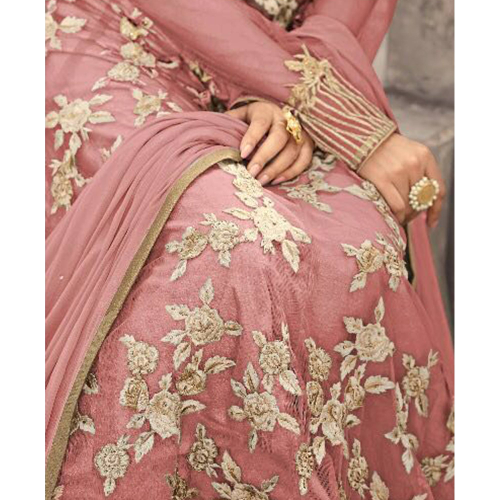 Marvellous Mauve Colored Party Wear Embroidered Net Anarkali Suit