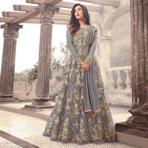 Mesmerising Grey Colored Party Wear Embroidered Net Anarkali Suit