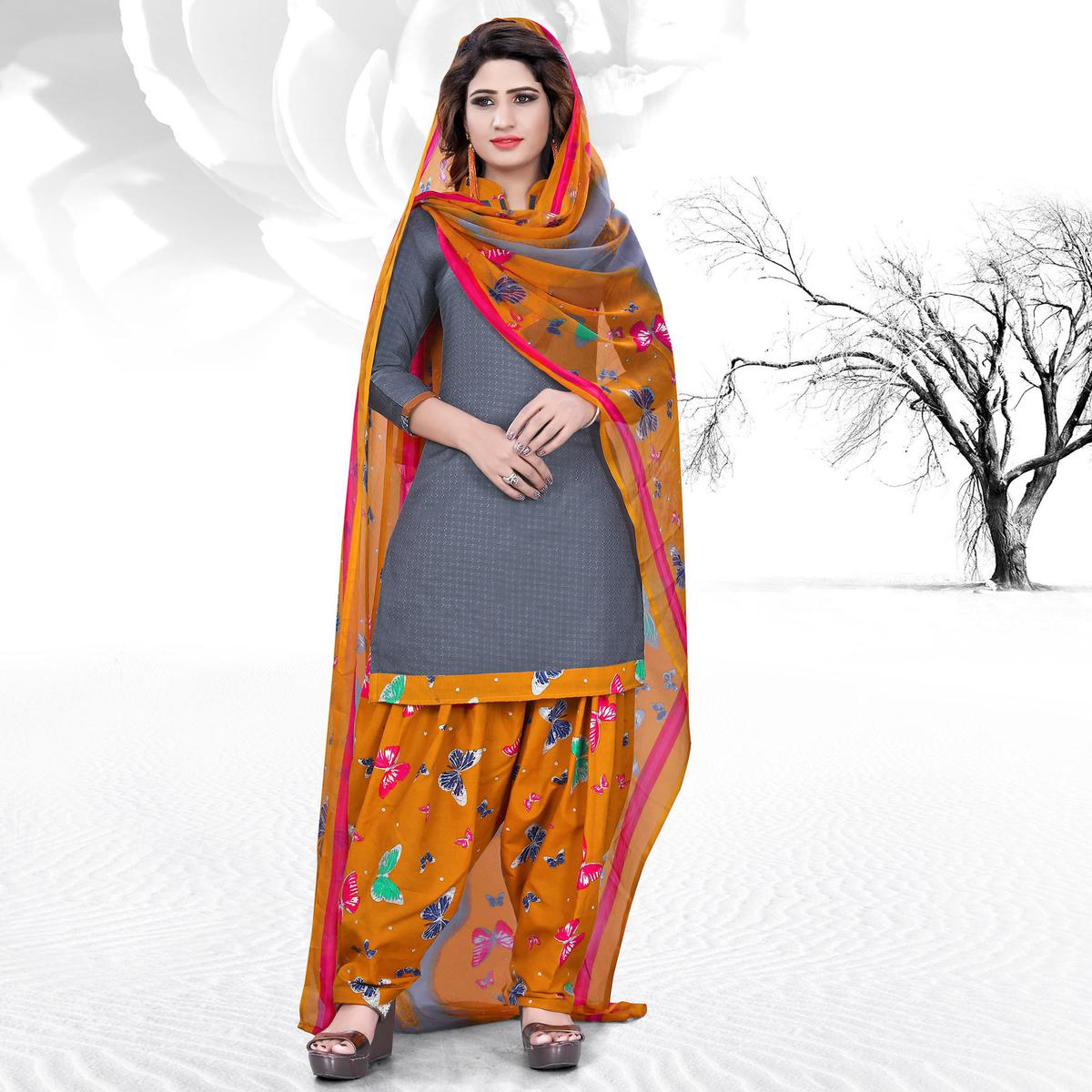 Classy Grey Colored Casual Printed Cotton Dress Material