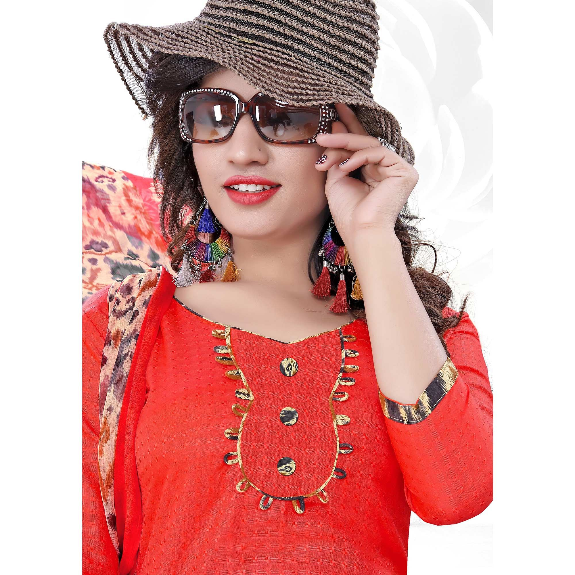 Glorious Coral Red Colored Casual Printed Cotton Dress Material