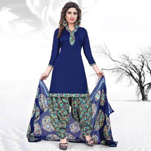Graceful Blue Colored Casual Printed Cotton Dress Material