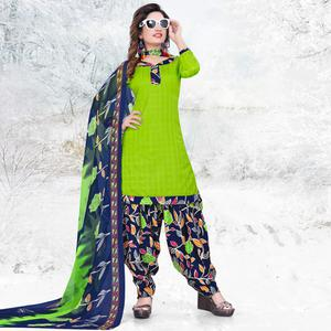 Lovely Green Colored Casual Printed Cotton Dress Material