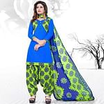 Pretty Blue Colored Casual Printed Cotton Dress Material