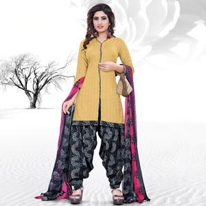 Charming Cream Colored Casual Printed Cotton Dress Material