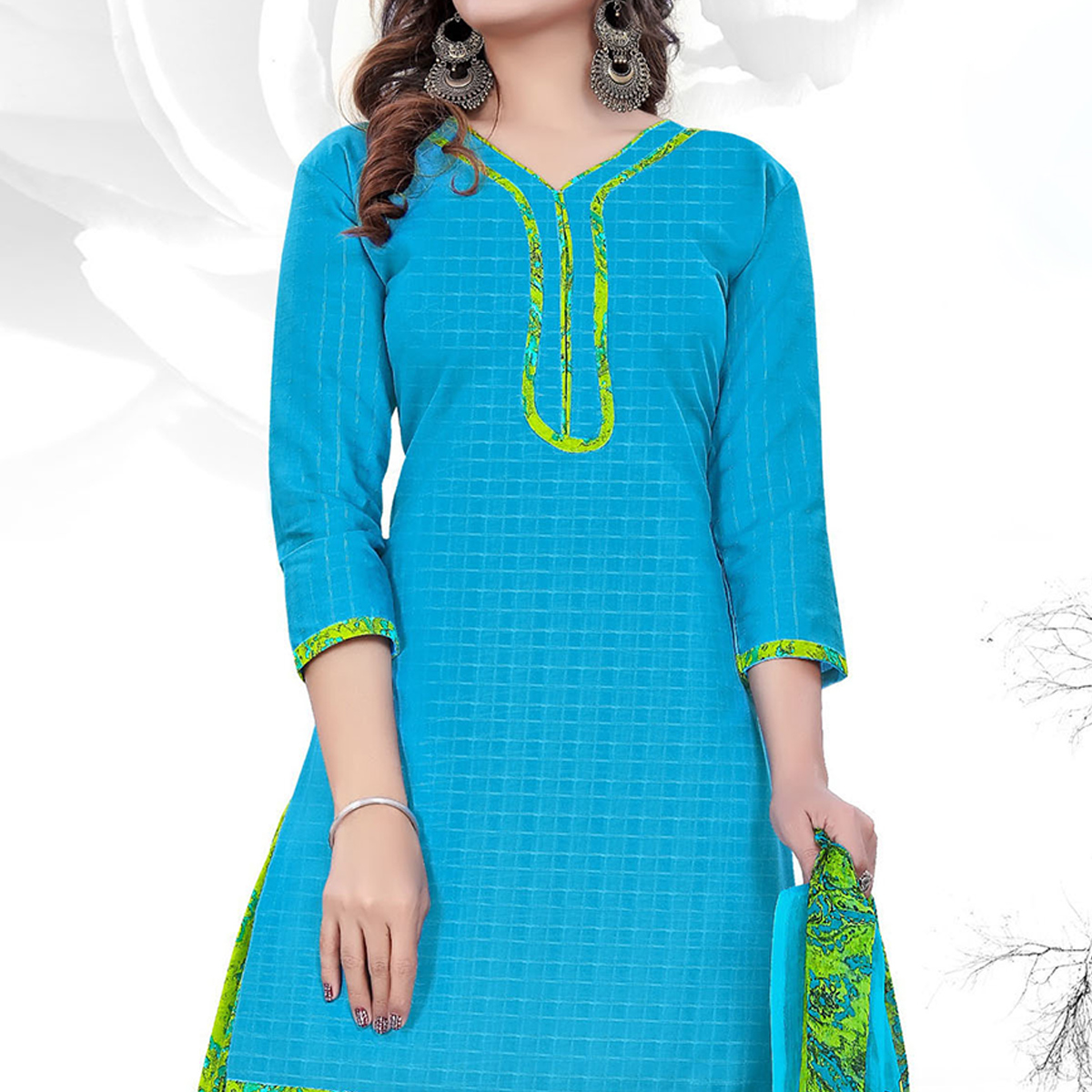 Ravishing Sky Blue Colored Casual Printed Cotton Dress Material