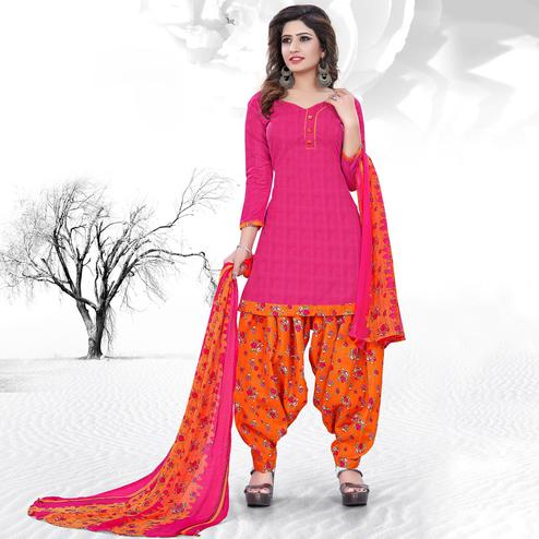 Delightful Pink Colored Casual Printed Cotton Dress Material