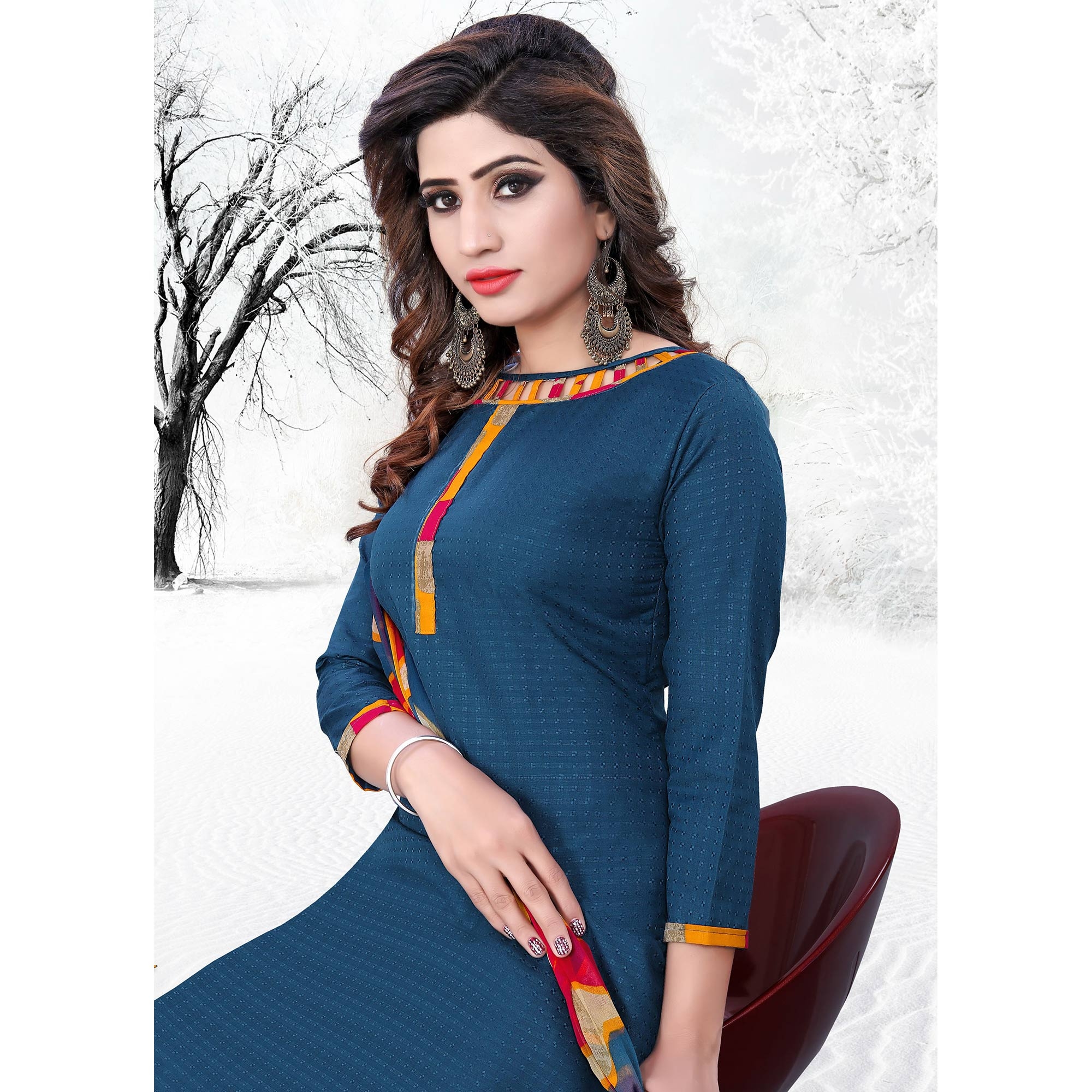 Stunning Stone Blue Colored Casual Printed Cotton Dress Material