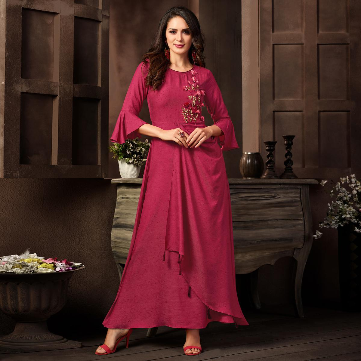 Stunning Deep Pink Colored Partywear Embroidered Rayon Long Kurti