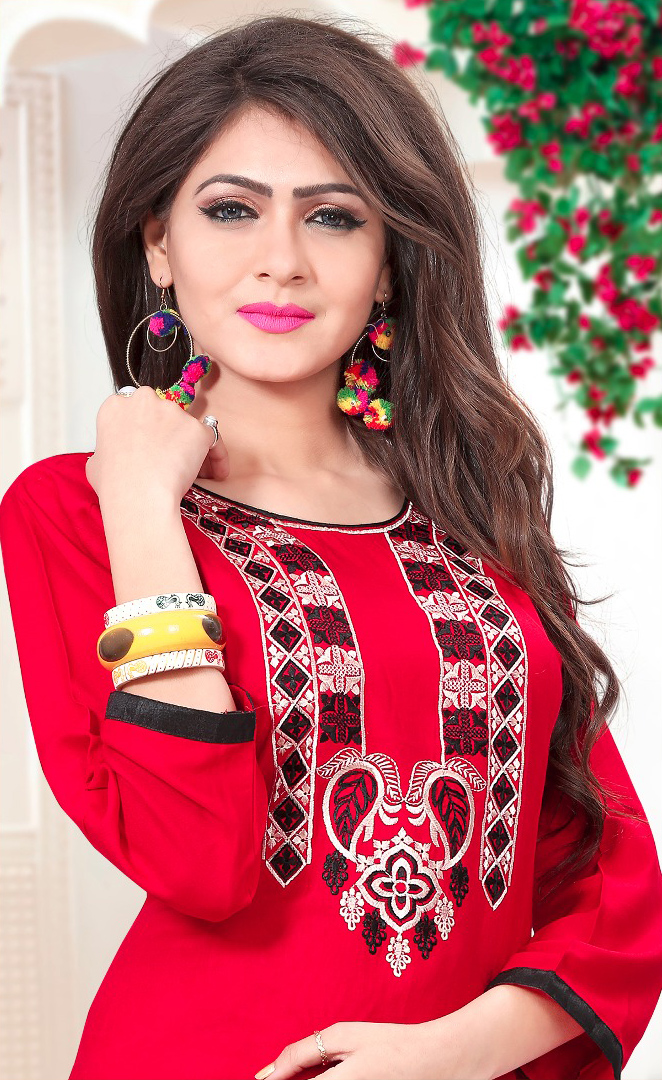 Sizzling Red Embroidered Rayon Kurti