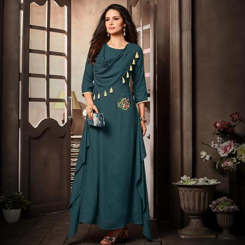 Starring Teal Blue Colored Partywear Embroidered Rayon Long Kurti