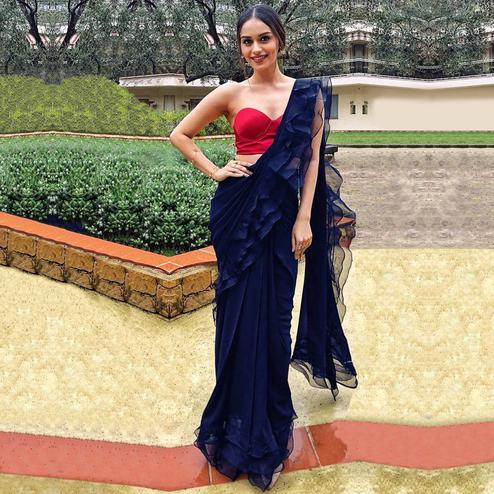 Flaunt Navy Blue Colored Party Wear Fancy Georgette Saree
