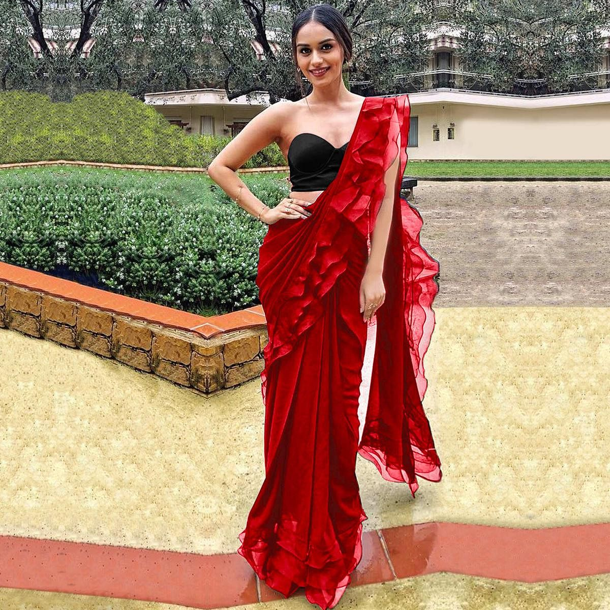Gleaming Red Colored Party Wear Fancy Georgette Saree
