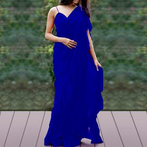 Prominent Royal Blue Colored Party Wear Fancy Georgette Saree