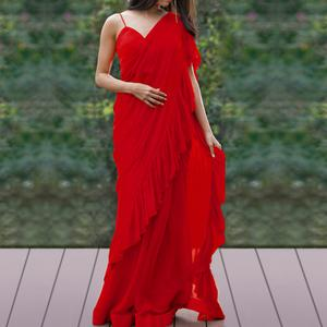 Capricious Red Colored Party Wear Fancy Georgette Saree