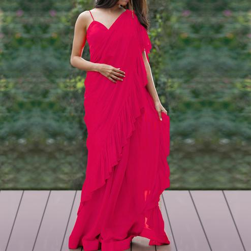 Adorning Deep Pink Colored Party Wear Fancy Georgette Saree