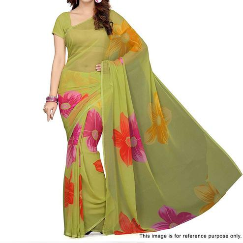 Green Floral Print Georgette Saree
