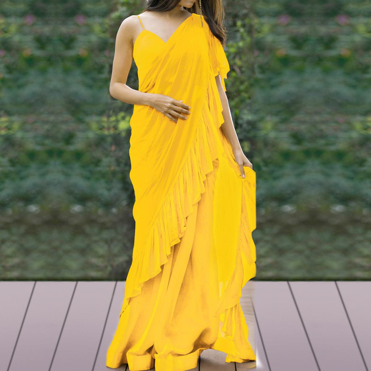 Captivating Yellow Colored Party Wear Fancy Georgette Saree