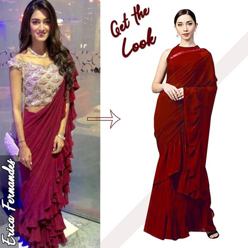Sensational Maroon Colored Party Wear Fancy Georgette Saree