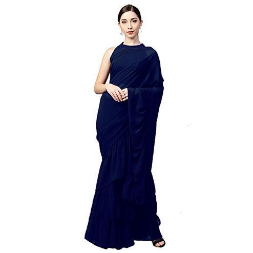Opulent Navy Blue Colored Party Wear Fancy Georgette Saree