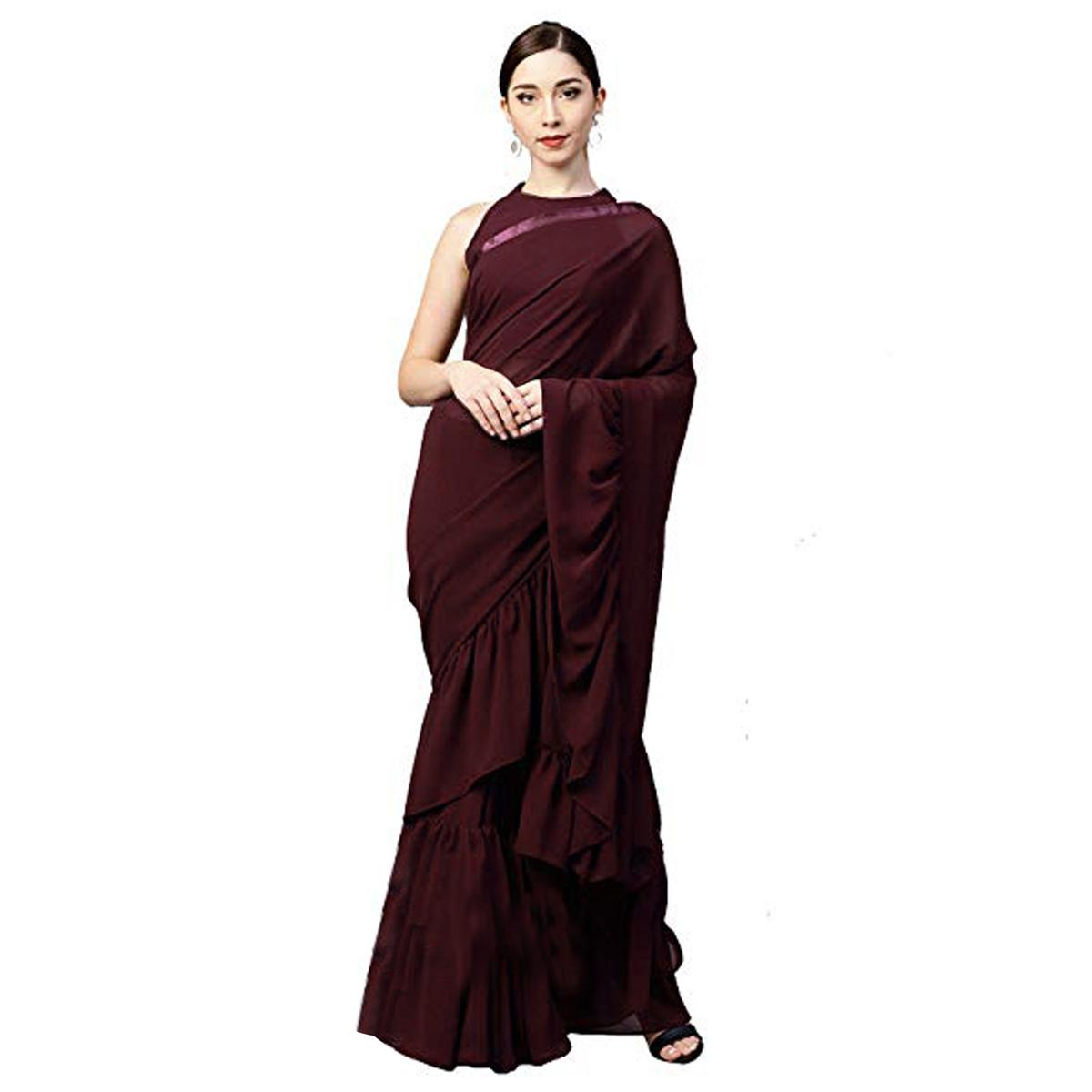 Innovative Wine Colored Party Wear Fancy Georgette Saree