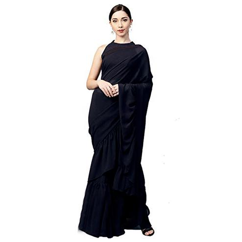Flattering Black Colored Party Wear Fancy Georgette Saree