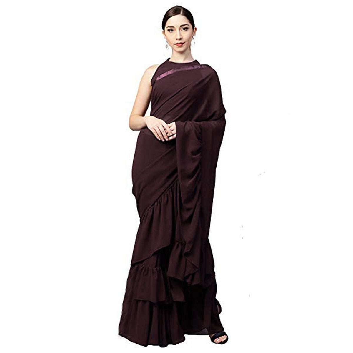 Breathtaking Brown Colored Party Wear Fancy Georgette Saree