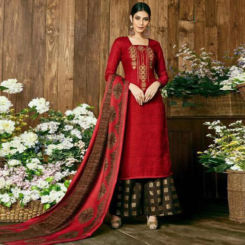 Trendy Red Colored Party Wear Embroidered Pashmina Palazzo Suit