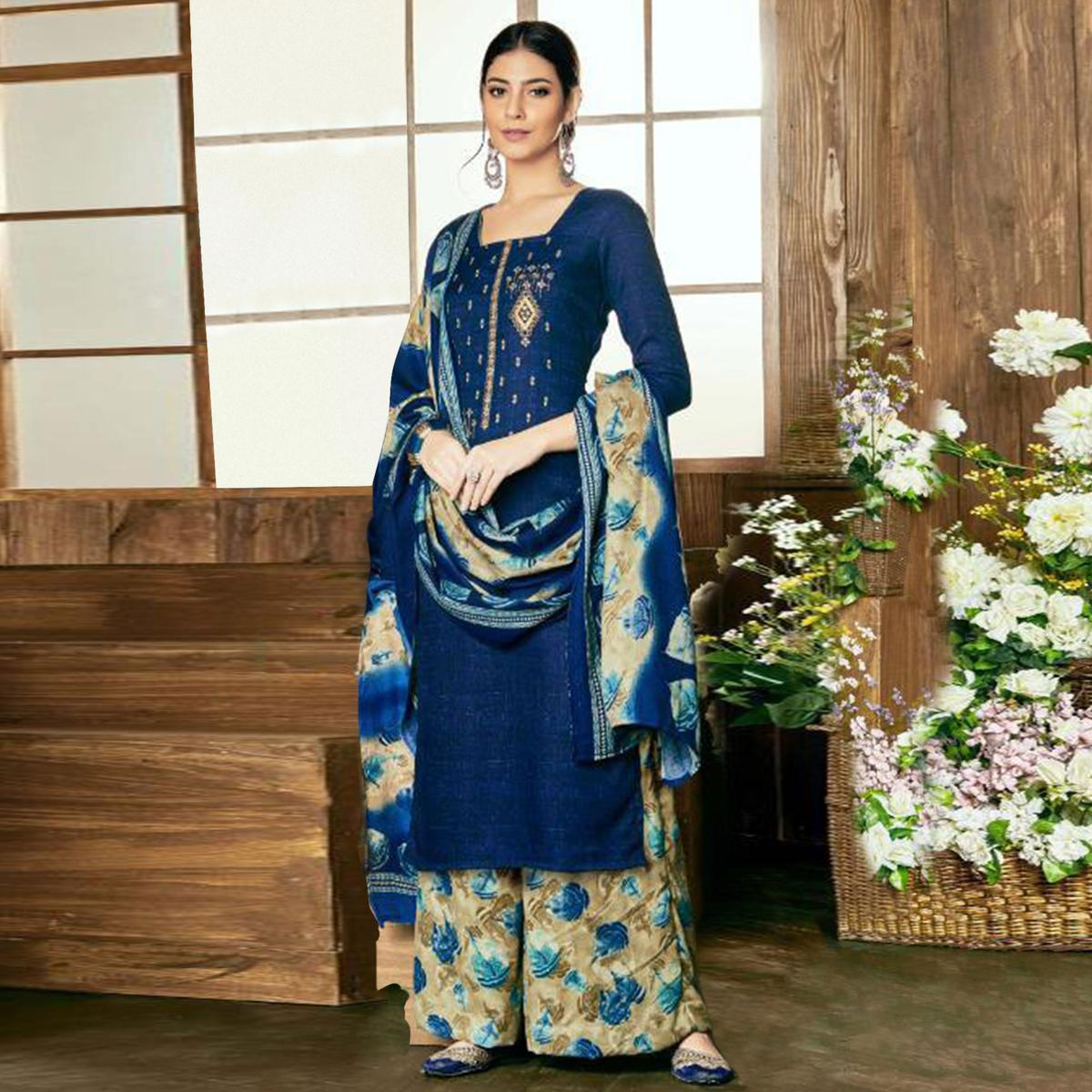 Pleasant Blue Colored Party Wear Embroidered Pashmina Palazzo Suit