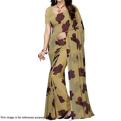 Beige Floral Print Casual Saree