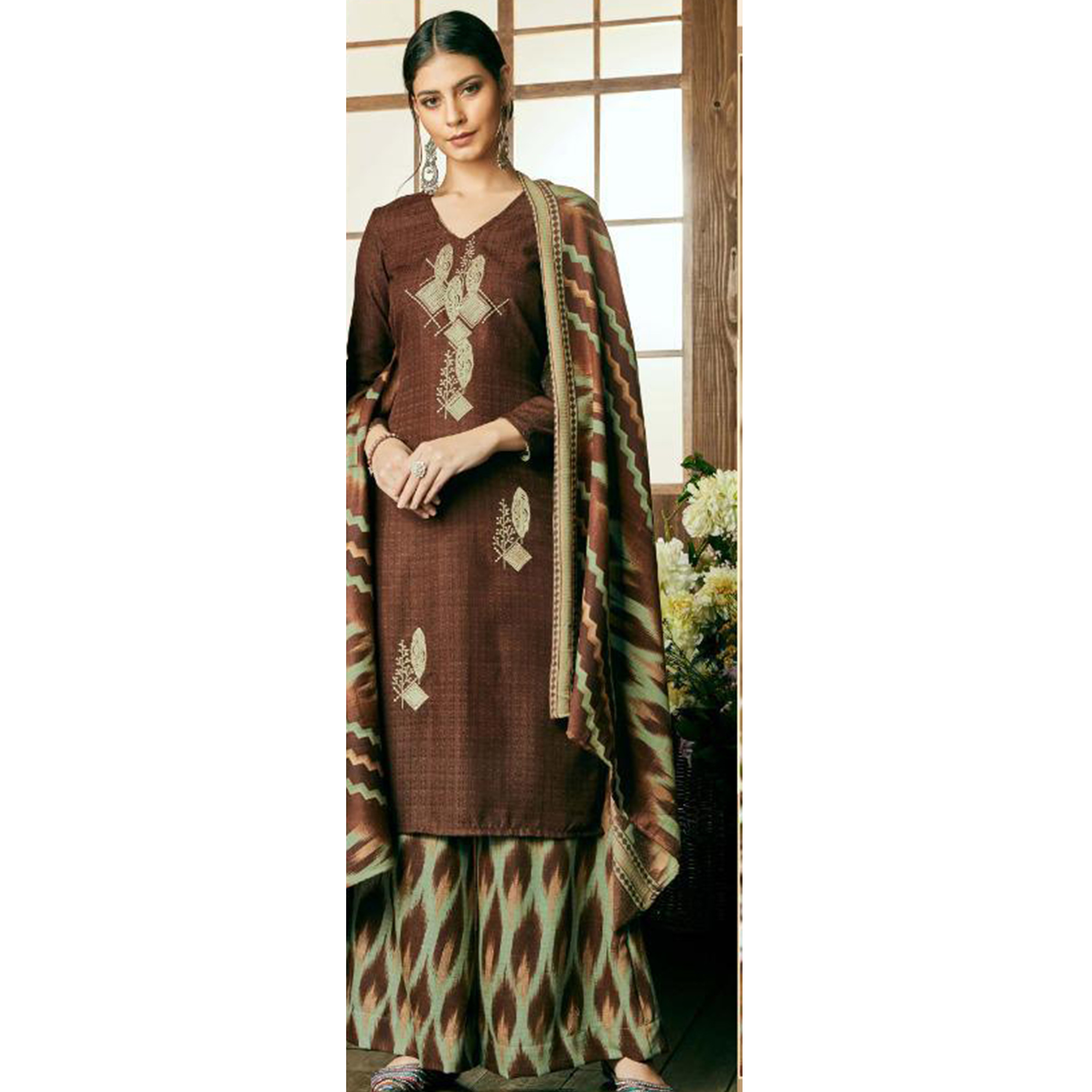 Opulent Brown Colored Party Wear Embroidered Pashmina Palazzo Suit