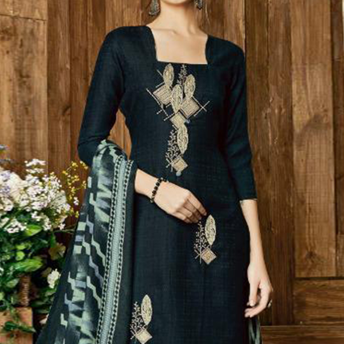 Energetic Black Colored Party Wear Embroidered Pashmina Palazzo Suit